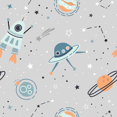 Seamless childish pattern with hand drawn space elements space, satellite, planet, rocket, black and white stars, space probe, constellations, meteorite. Trendy kids  light grey vector background. © cheremuha