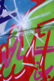 Art under ground. Beautiful street art graffiti style. The wall is decorated with abstract drawings house paint. Modern iconic urban culture of street youth. Abstract stylish picture on wall .