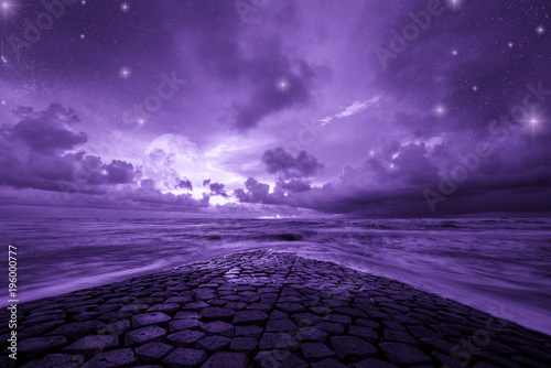 Canvas Snoeien Ultra violet fantasy background, road to the ocean with fantastic night sky, color of the year 2018