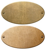 old copper and brass oval metal plates with clipping path 3d illustration - 196002722