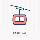 Cable car thin line icon. Modern vector illustration. - 196008513