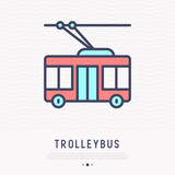 Trolleybus thin line icon, side view, Modern vector illustration of public transport.