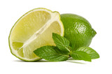 one lime with half of a juicy lime with leaves of mint isolated on white background - 196008901