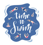 Vector background in scandinavian style swimmers in and lettering - Time to travel. Hand drawn print with  swimming pool for t-shirt design. - 196010380