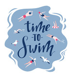 Vector background in scandinavian style swimmers, seagulls and lettering - Time to travel. Hand drawn print for t-shirt. - 196010394