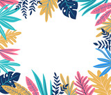Tropical leaves. Vector frame in scandinavian style. Hand drawn background. Poster in orange, pink and blue colors with place for text. - 196010579