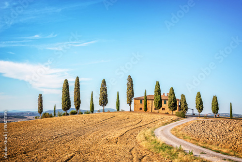 Aluminium Blauw Beautiful typical landscape of Val d'Orcia in Tuscany, Italy