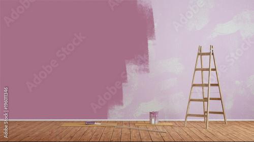 Maluj ściany fioletową farbą ścienną