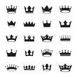 Royal Crowns ancient emblems elements set. Heraldic vector design elements collection. Retro style label, heraldry logo.