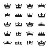 Royal Crowns ancient emblems elements set. Heraldic vector design elements collection. Retro style label, heraldry logo. - 196011517