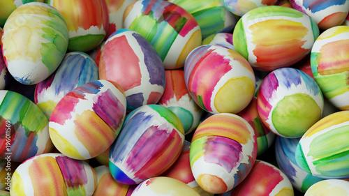 Viele Ostereier zu Ostern mit Wasserfarben - 196011569