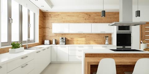 Offene helle Küche als Wohnküche
