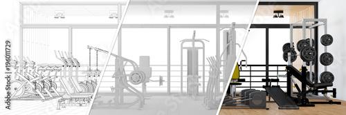Fotobehang Fitness Planung und Entwurf von Fitnesscenter