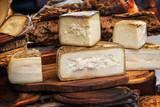 Italian pecorino cheese on a wooden rustic display - 196011971