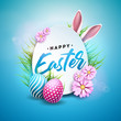 Vector Illustration of Happy Easter Holiday with Painted Egg, Rabbit Ears and Flower on Shiny Blue Background. International Celebration Design with Typography for Greeting Card, Party Invitation or - 196027546