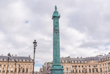 Paris, place Vendome, the column and beautiful buildings in background
