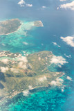 Beautiful tropical islands as seen from aircraft
