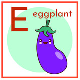 Cartoon Alphabet Flashcard. E is for Eggplant Flat vector illustration EPS