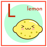 Cartoon Fruit Alphabet Flashcard. L is for Lemon Flat vector illustration EPS