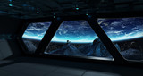 Spaceship futuristic interior with view on planet Earth - 196038103