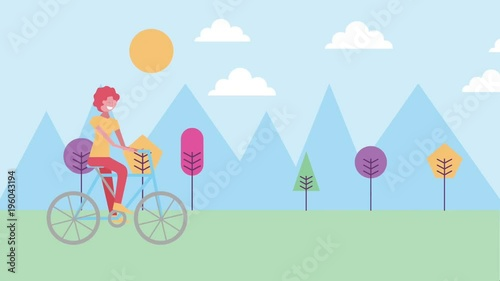 Sticker character riding bike with mountains natural landscape animation