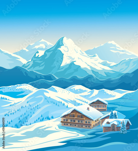 Deurstickers Blauw Winter landscape of a ski resort with mountains and a slope for skiing. Vector illustration.