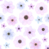 Seamless Pattern of Violet and Blue Flowers - 196044764