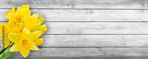 Springtime flowers and wooden background
