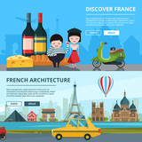 Banners set of french landmarks