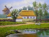 Oil paintings landscape, village