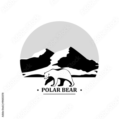 Deurstickers Wit Polar bear symbol on a background of mountains.Vector icon.