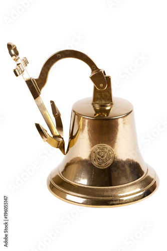 Tuinposter Schip Vintage ship bell on white background