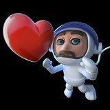 3d Funny cartoon spaceman astronaut character chasing a heart in space - 196055920