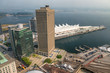 Aerial view of Canada Place in Vancouver on a sunny day