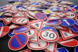 Background of many road signs. 3D rendered illustration. - 196060726