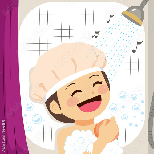 Fototapeta Girl singing on shower while scrubbing skin with sponge
