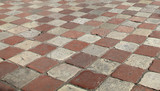 Marble paving of the square in Kotor, Montenegro