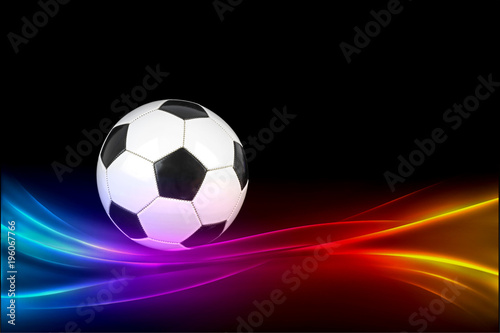 Deurstickers Bol Soccer ball with colorful effects on black background.