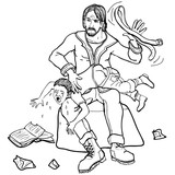 Vector illustration upset father spanking child with strap black and white - 196070785