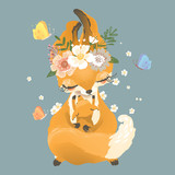 Cute mother fox with little fox in flowers, floral wreath, bouquet, tied bow and butterflies