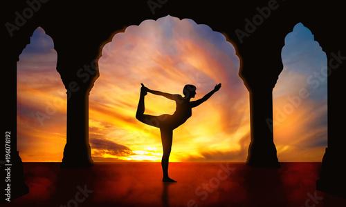 Poster Yoga silhouette Natarajasana dancer pose