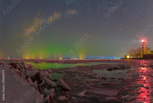 Plexiglas Noorderlicht Northern lights in the Finnish Gulf, Leningrad region, Russia