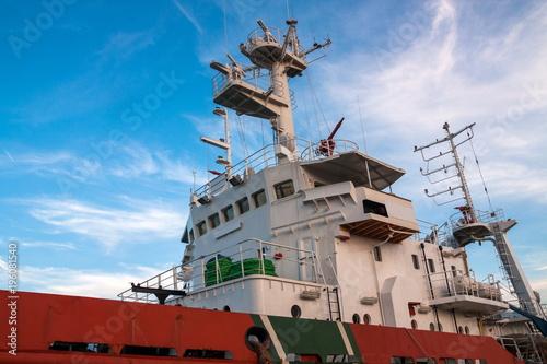 Foto op Canvas Schip Industrial tanker ship details closeup