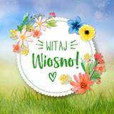 Witaj wiosno, piękny kwiatowy motyw, koncepcja na kartkę z życzeniami - 196084929