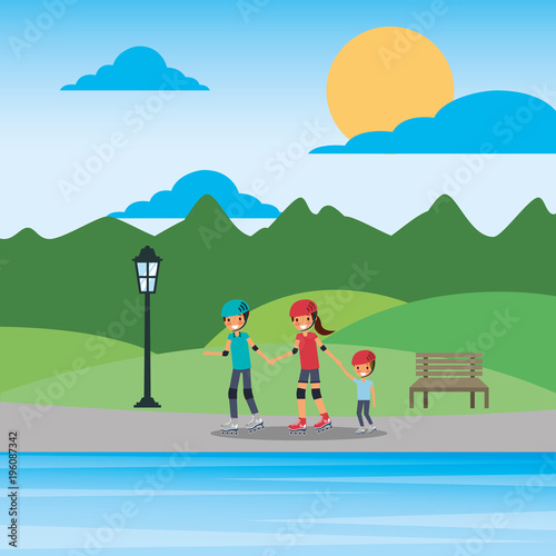 Keuken foto achterwand Blauwe hemel family on roller skating in the park lake mountains vector illustration