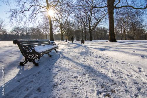 Deurstickers Londen Snow in Green Park, London