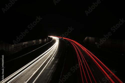 Aluminium Nacht snelweg Autobahn