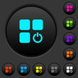 Component switch dark push buttons with color icons