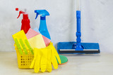A cleaning kit with tools and products at home. - 196091120