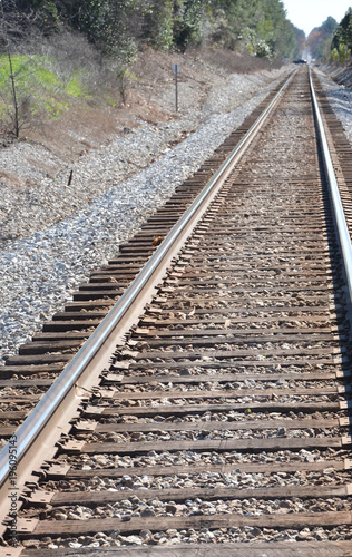Fotobehang Spoorlijn down the rails